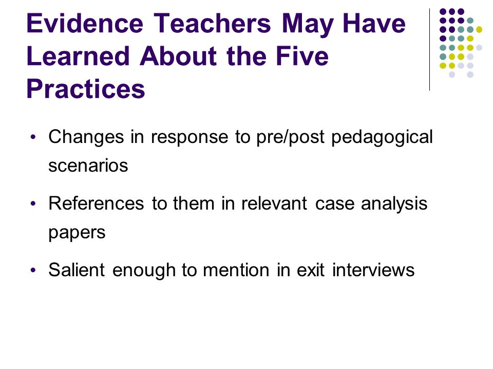 Evidence Teachers May Have Learned About the Five Practices