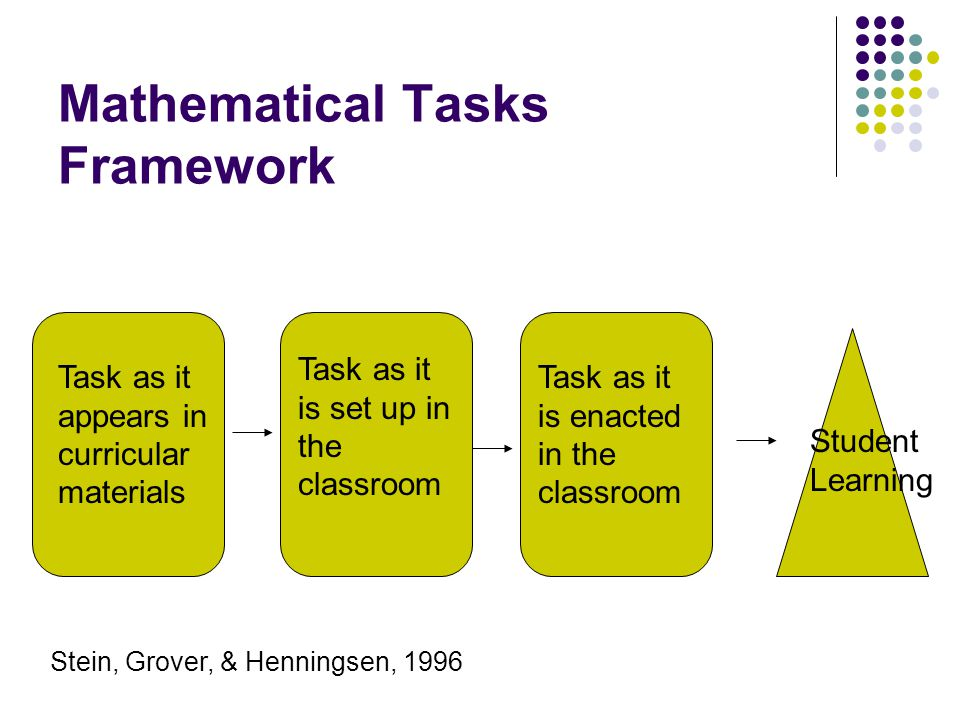 Mathematical Tasks Framework