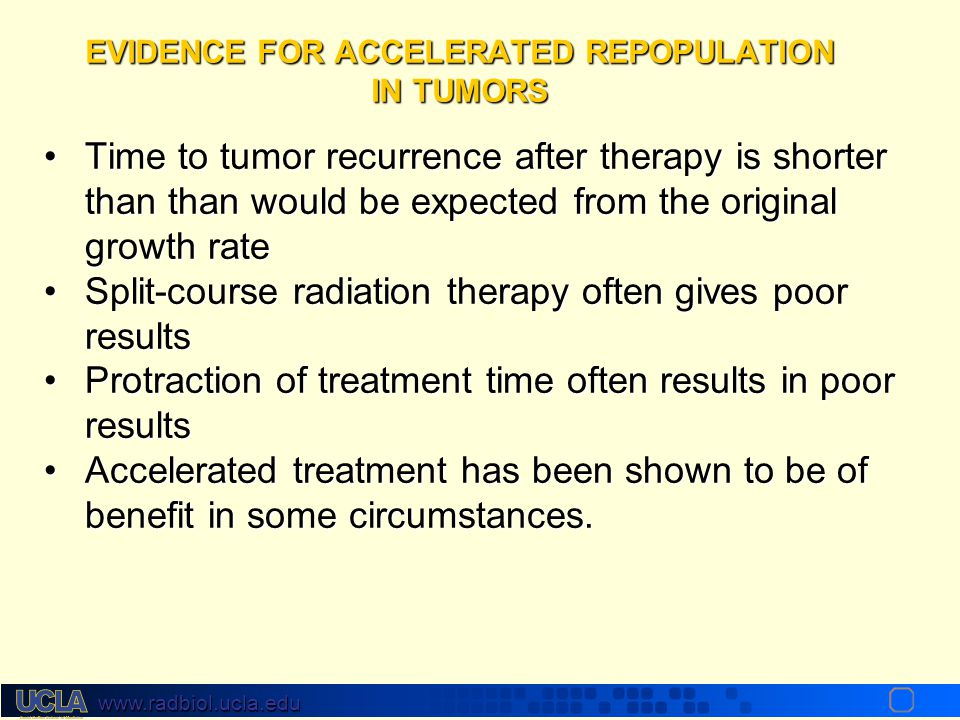 EVIDENCE FOR ACCELERATED REPOPULATION IN TUMORS