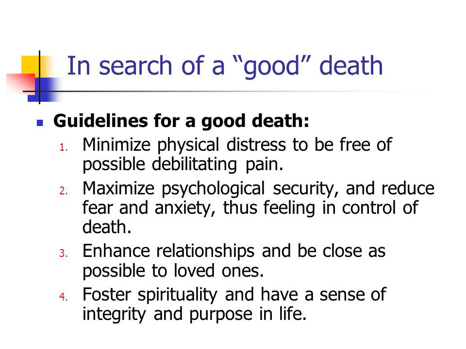 In search of a good death