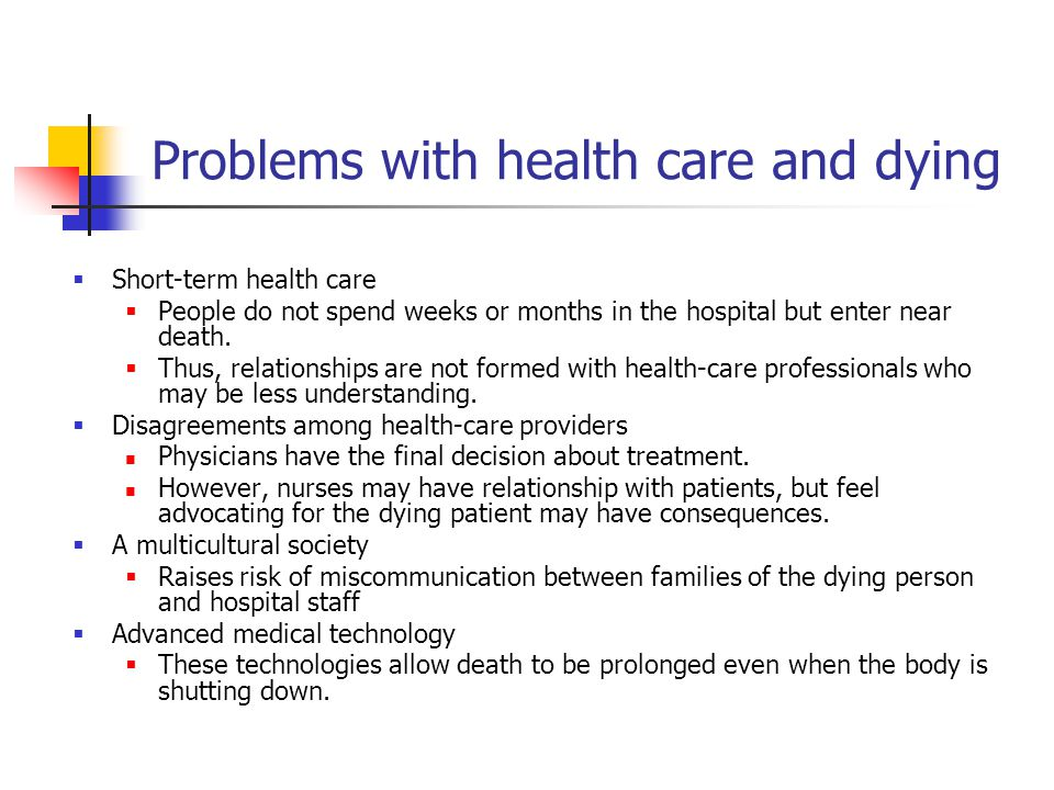 Problems with health care and dying