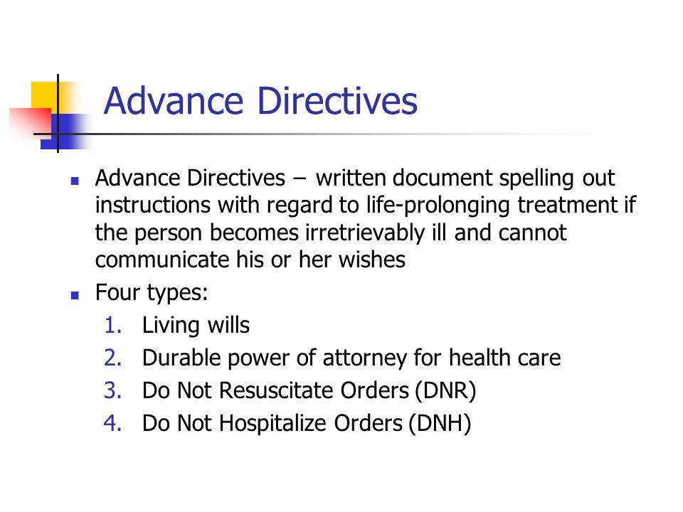 Types of advance directives