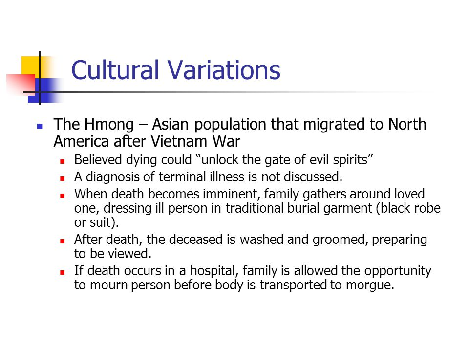 Cultural Variations The Hmong – Asian population that migrated to North America after Vietnam War.