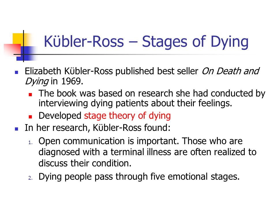 Kϋbler-Ross – Stages of Dying