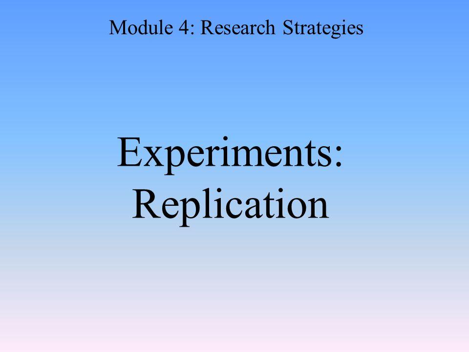 Experiments: Replication