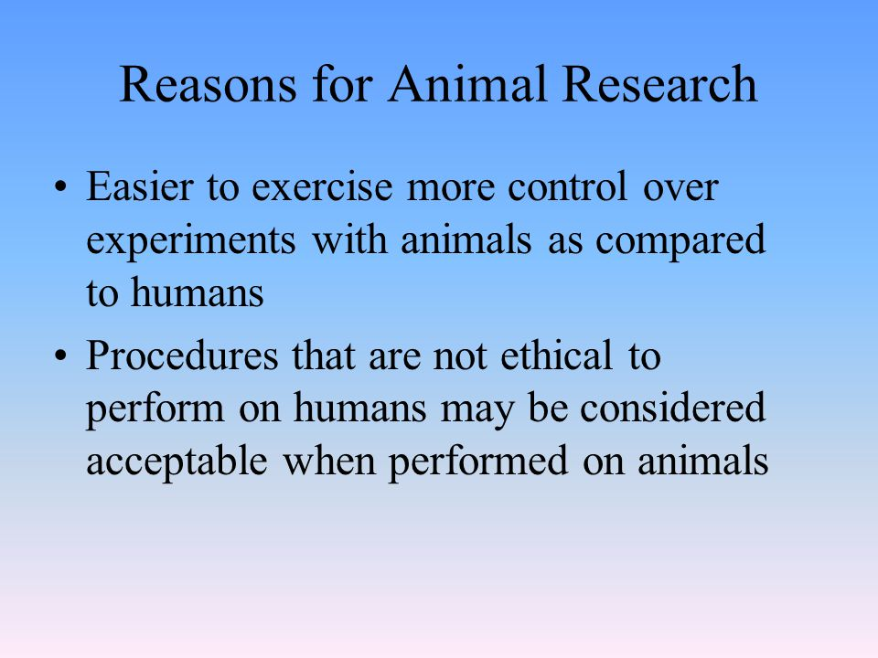 Reasons for Animal Research