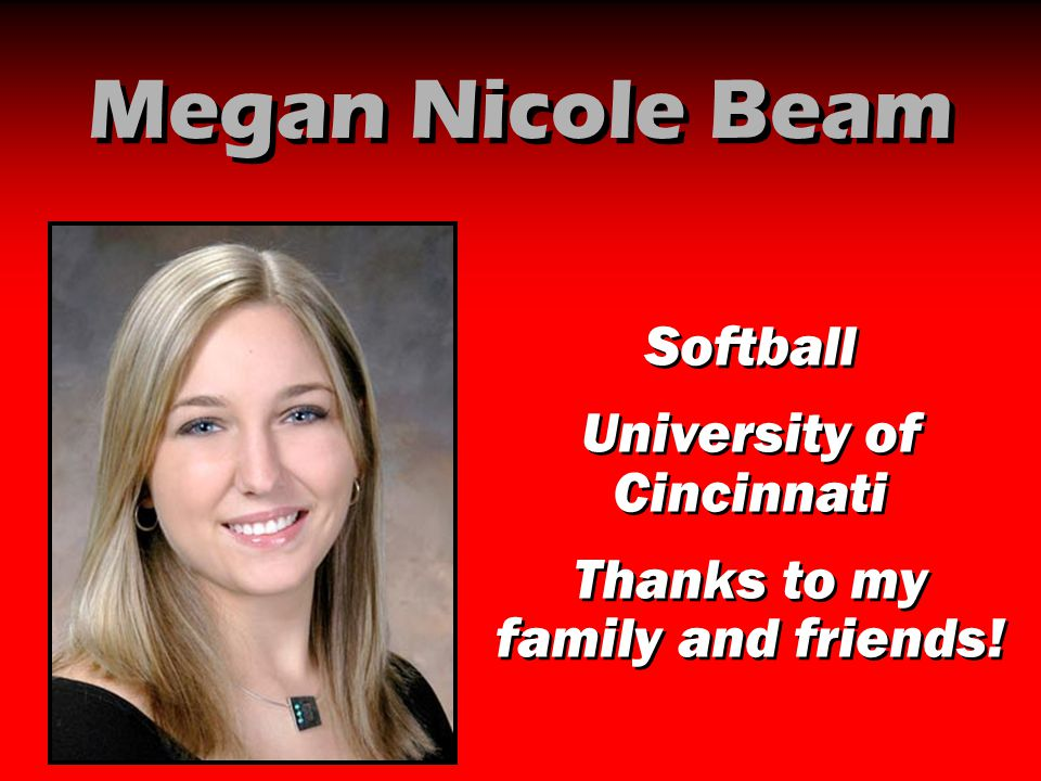 Megan Nicole Beam Softball University of Cincinnati