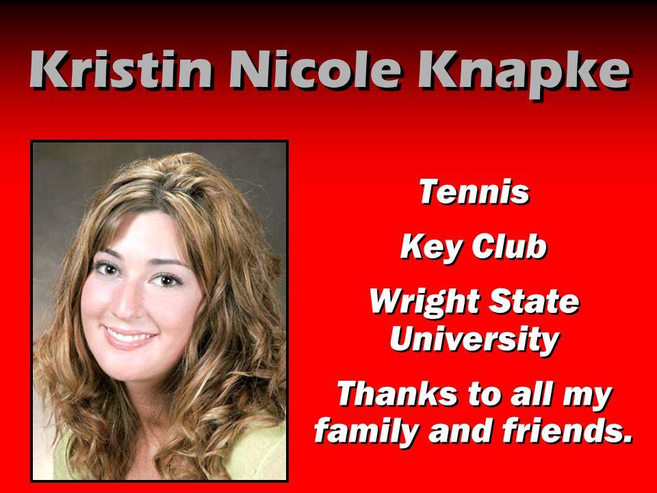 Kristin Nicole Knapke Tennis Key Club Wright State University