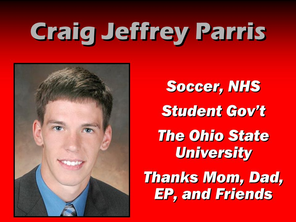 Craig Jeffrey Parris Soccer, NHS Student Gov't