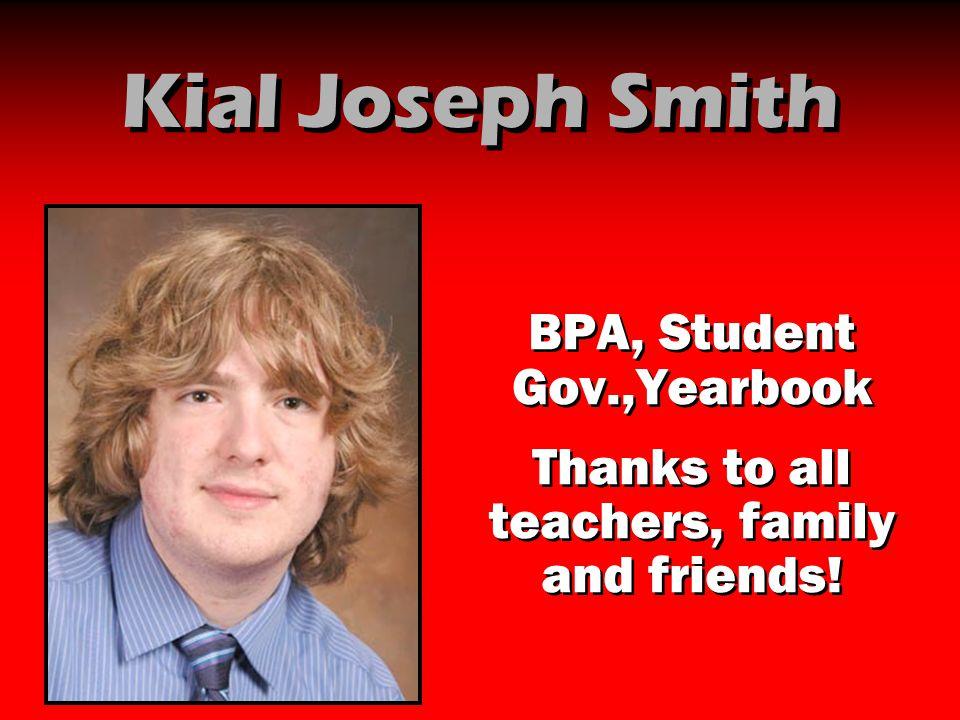 Kial Joseph Smith BPA, Student Gov.,Yearbook