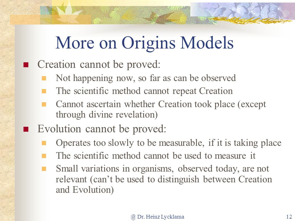 More on Origins Models Creation cannot be proved: