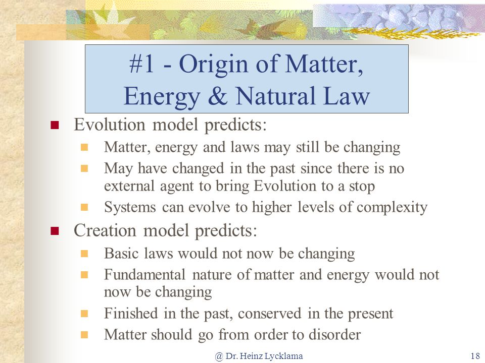 #1 - Origin of Matter, Energy & Natural Law