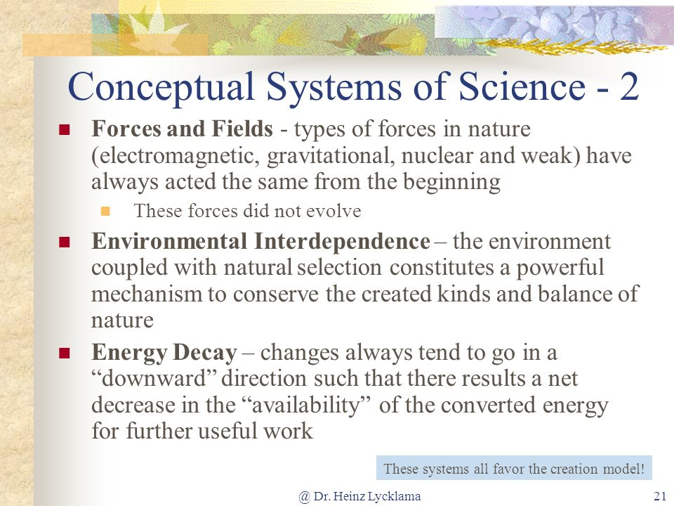 Conceptual Systems of Science - 2