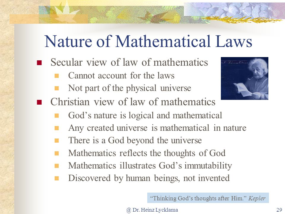 Nature of Mathematical Laws