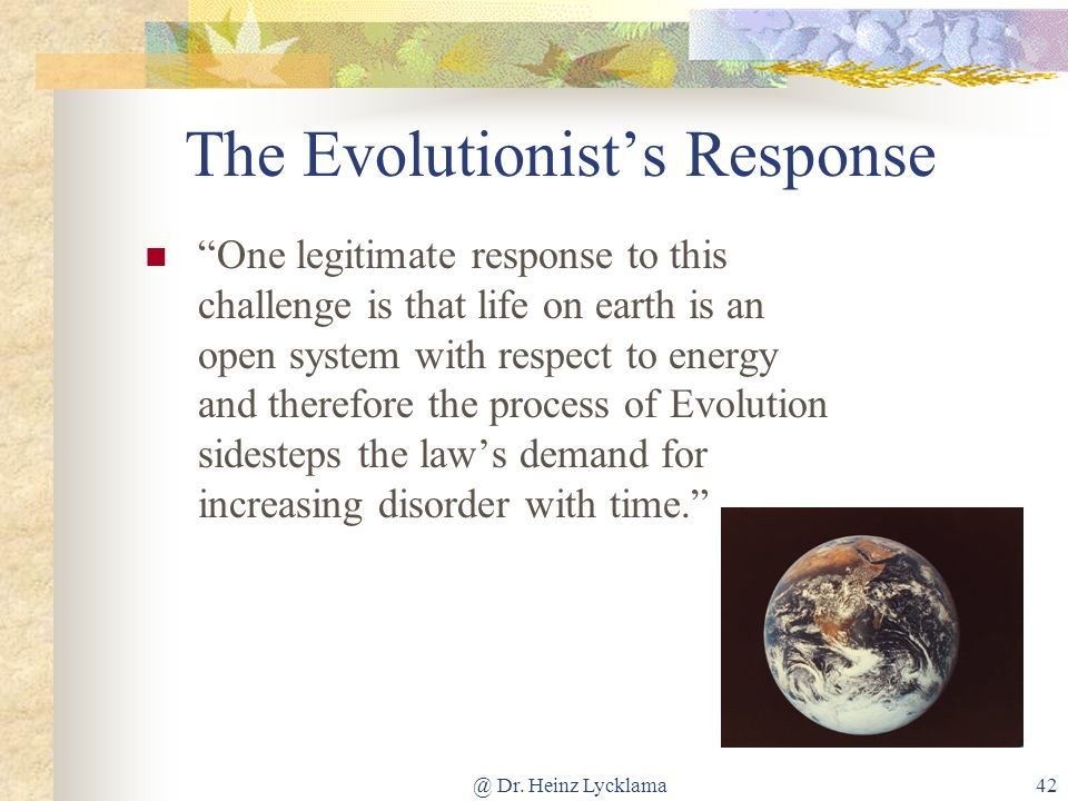 The Evolutionist's Response