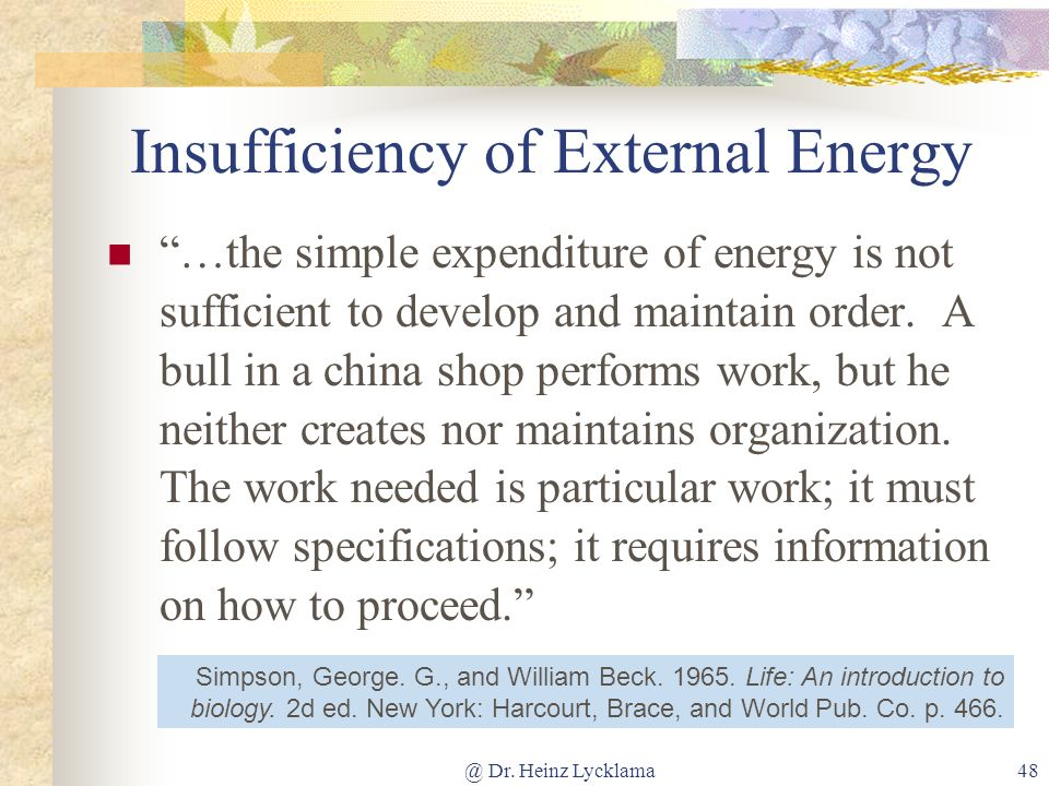 Insufficiency of External Energy