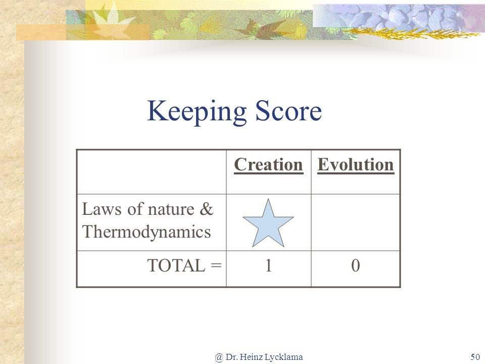 Keeping Score Creation Evolution Laws of nature & Thermodynamics