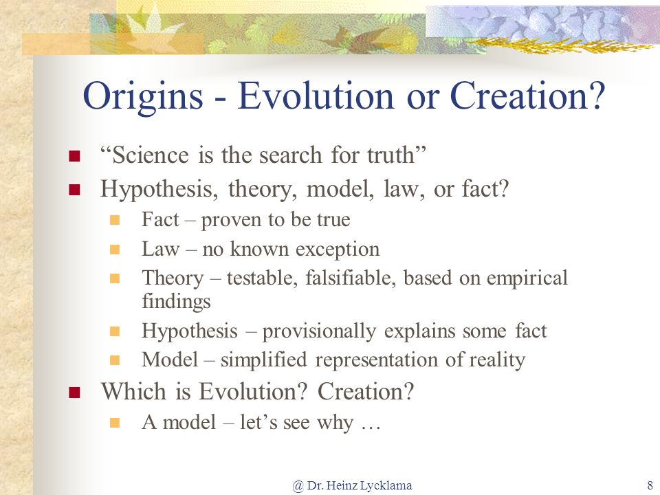 Origins - Evolution or Creation
