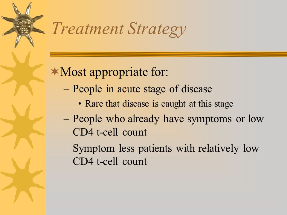 Treatment Strategy Most appropriate for: