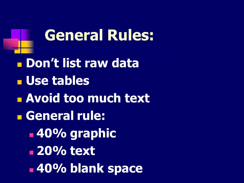 General Rules: Don't list raw data Use tables Avoid too much text