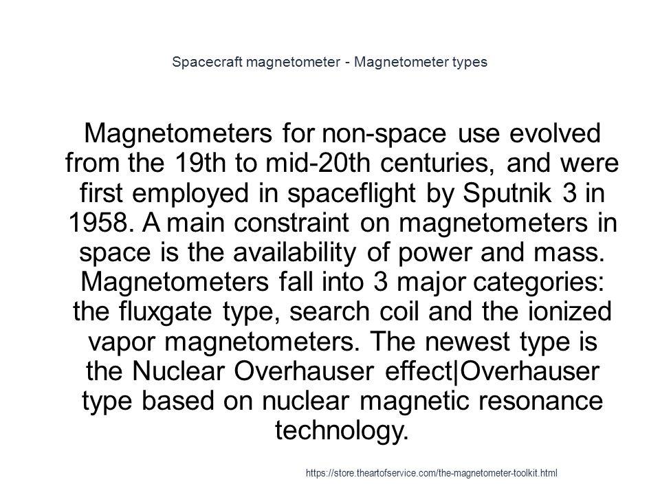 Spacecraft magnetometer - Magnetometer types