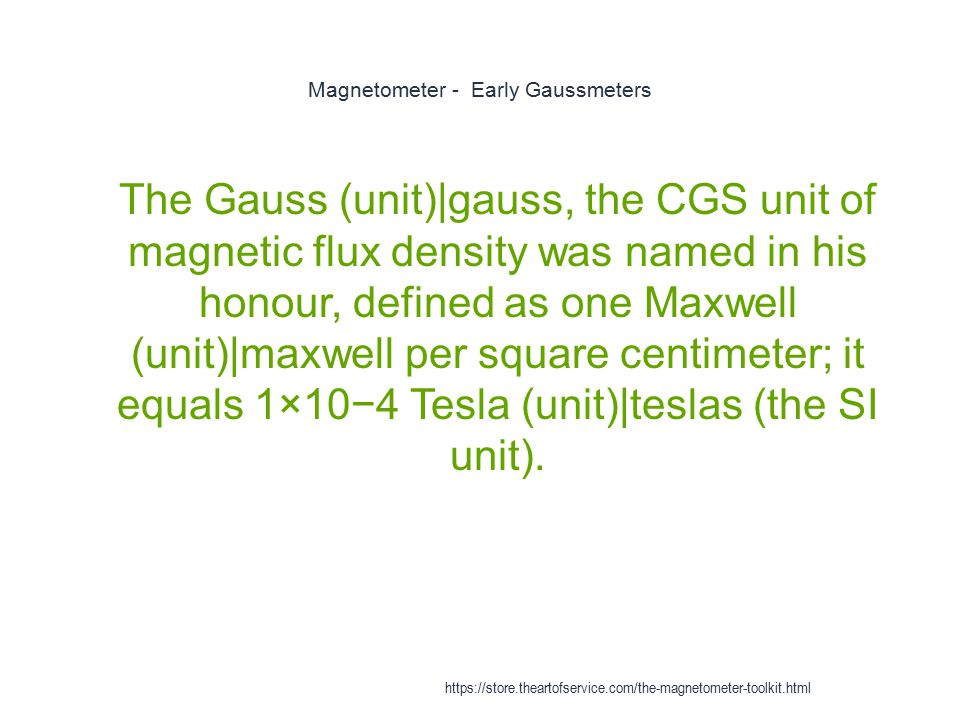Magnetometer - Early Gaussmeters