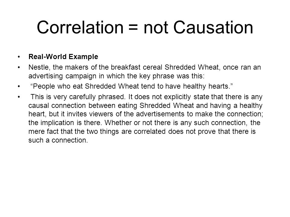 Correlation = not Causation