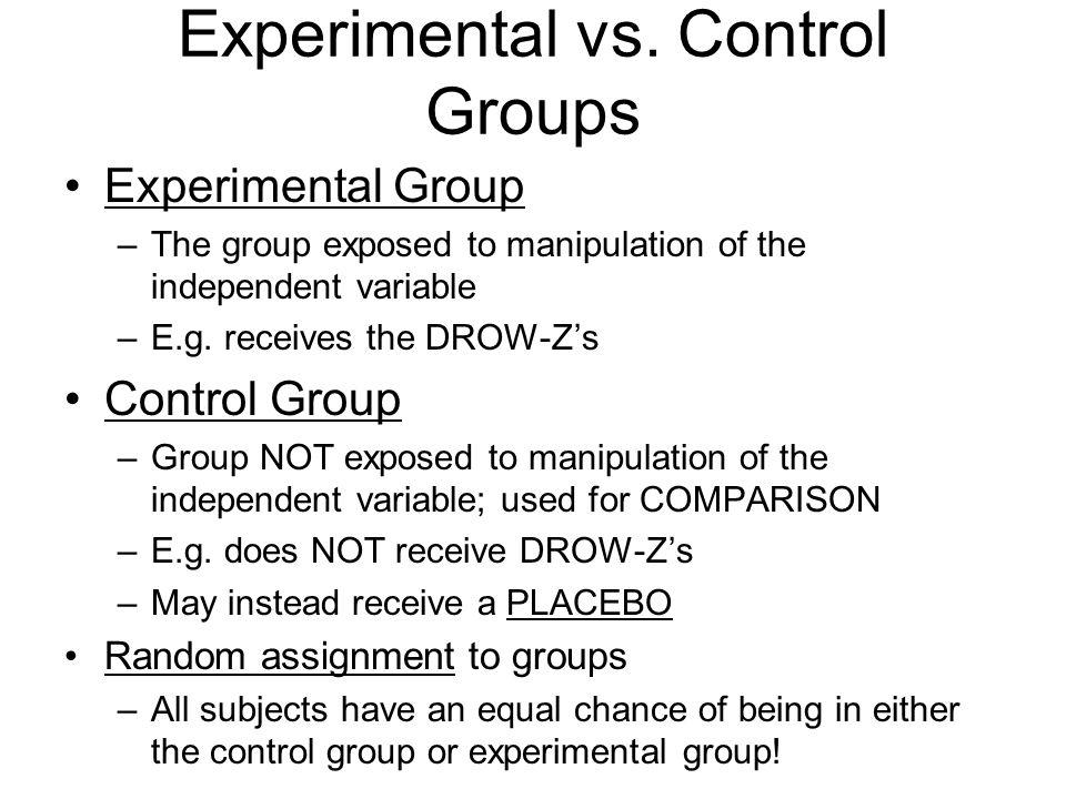 Experimental vs. Control Groups