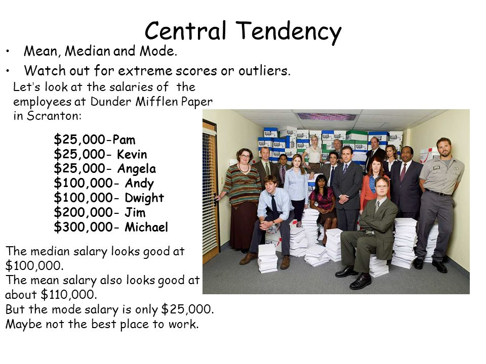 Central Tendency Mean, Median and Mode.