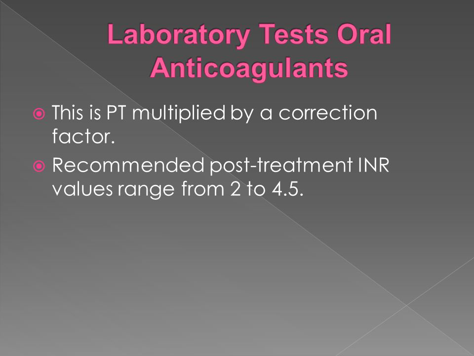 Laboratory Tests Oral Anticoagulants
