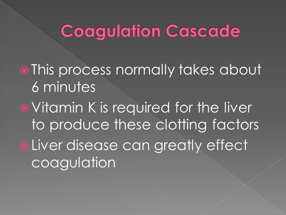 Coagulation Cascade This process normally takes about 6 minutes