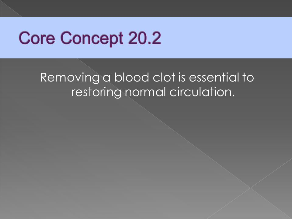 Removing a blood clot is essential to restoring normal circulation.