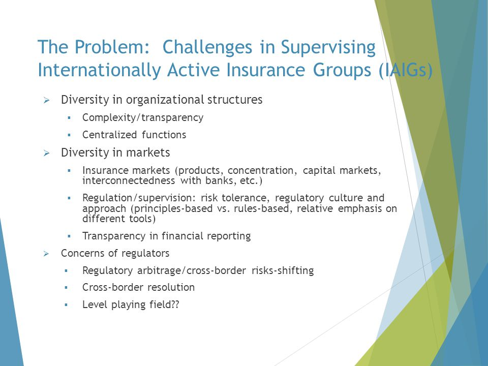 The Problem: Challenges in Supervising Internationally Active Insurance Groups (IAIGs)