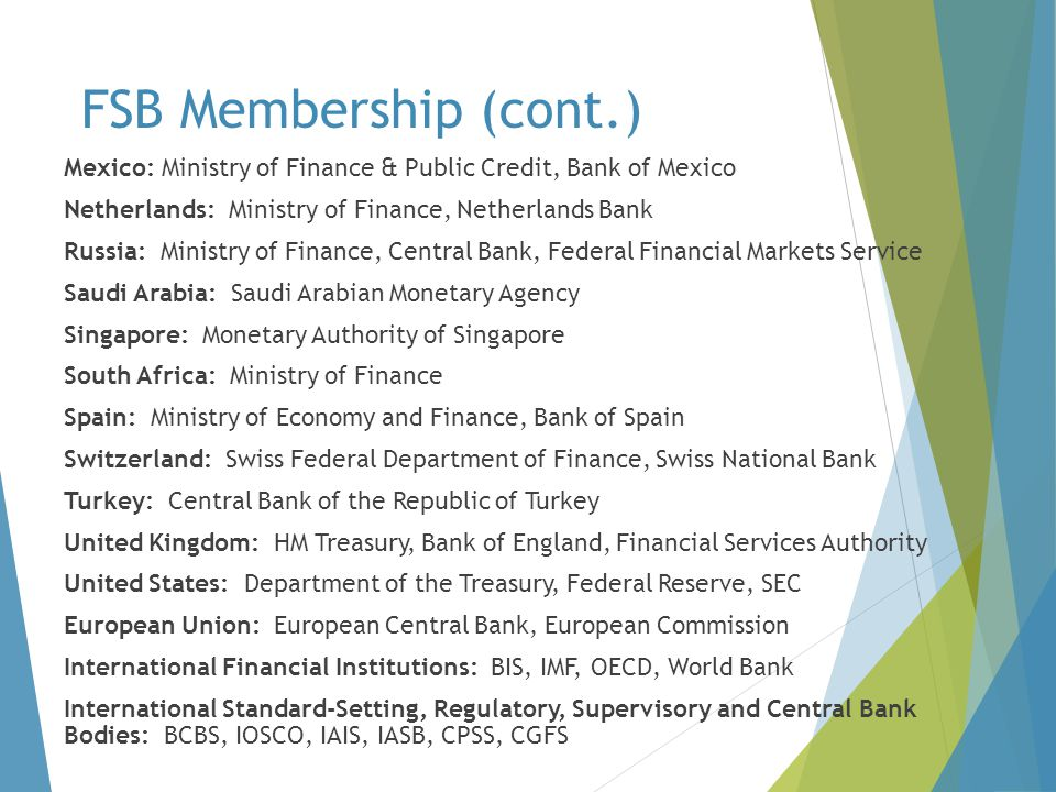 FSB Membership (cont.) Mexico: Ministry of Finance & Public Credit, Bank of Mexico. Netherlands: Ministry of Finance, Netherlands Bank.