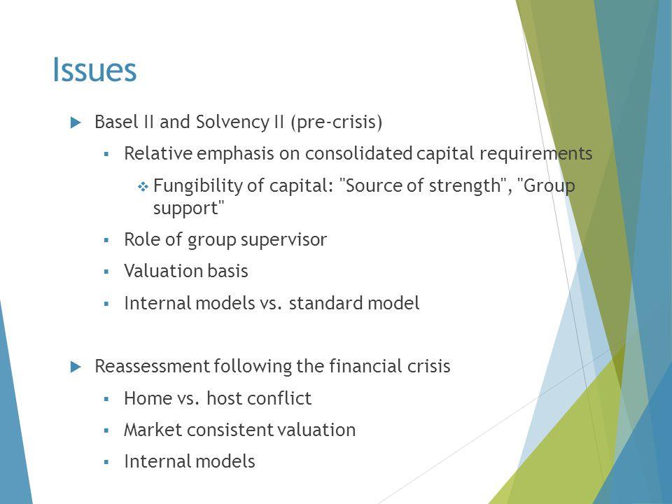 Issues Basel II and Solvency II (pre-crisis)