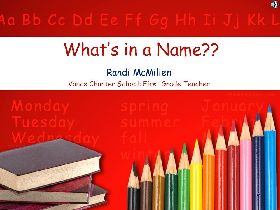 Randi McMillen Vance Charter School: First Grade Teacher