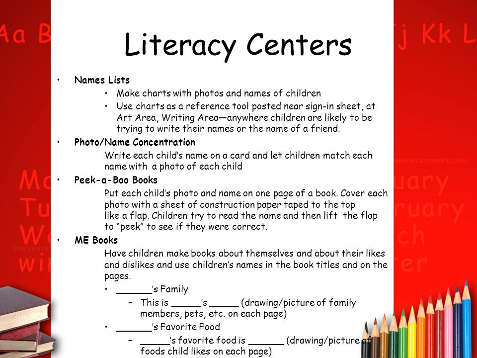 Literacy Centers Names Lists