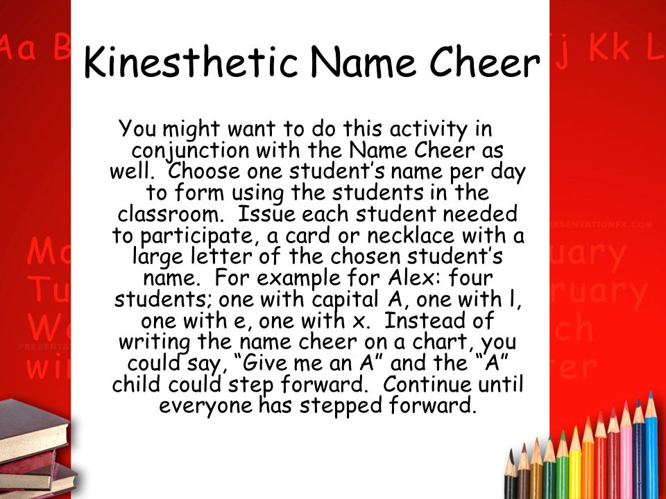 Kinesthetic Name Cheer