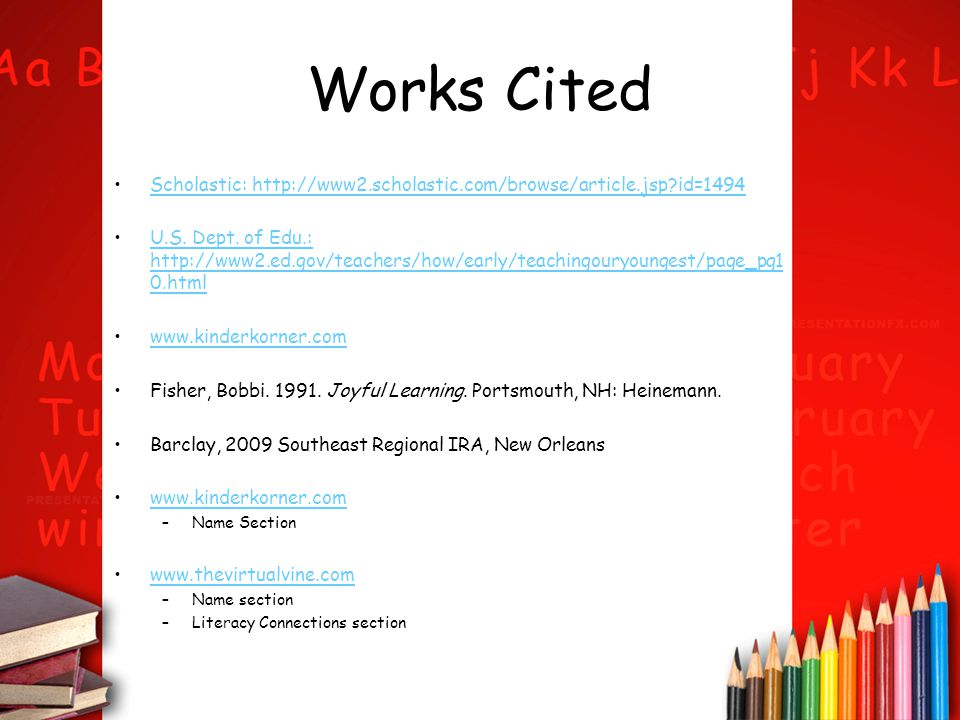 Works Cited Scholastic: http://www2.scholastic.com/browse/article.jsp id=1494.