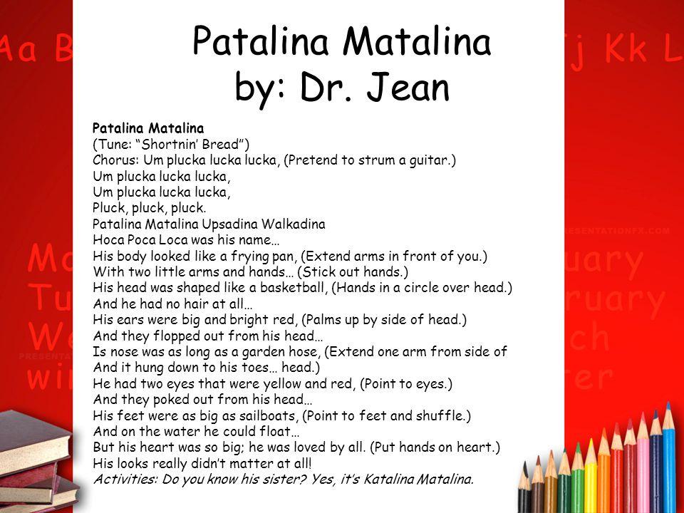 Patalina Matalina by: Dr. Jean