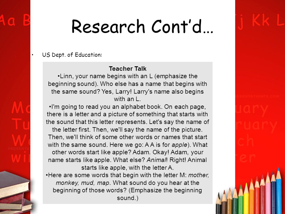 Research Cont'd… Teacher Talk