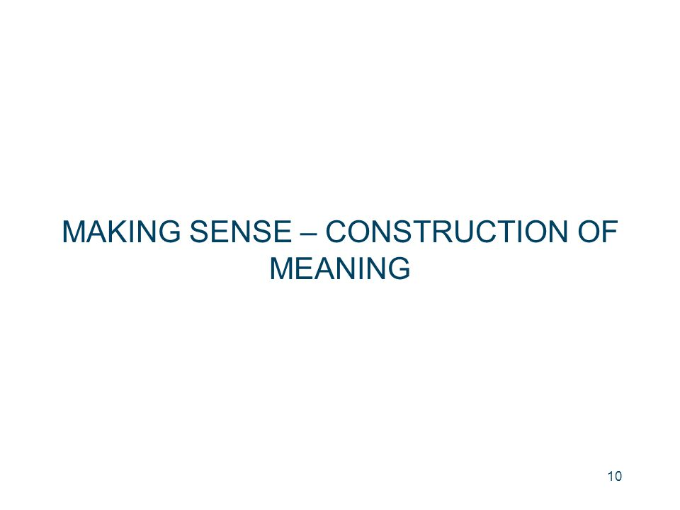 MAKING SENSE – CONSTRUCTION OF MEANING