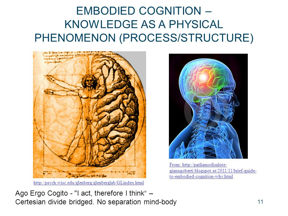 EMBODIED COGNITION – KNOWLEDGE AS A PHYSICAL PHENOMENON (PROCESS/STRUCTURE)
