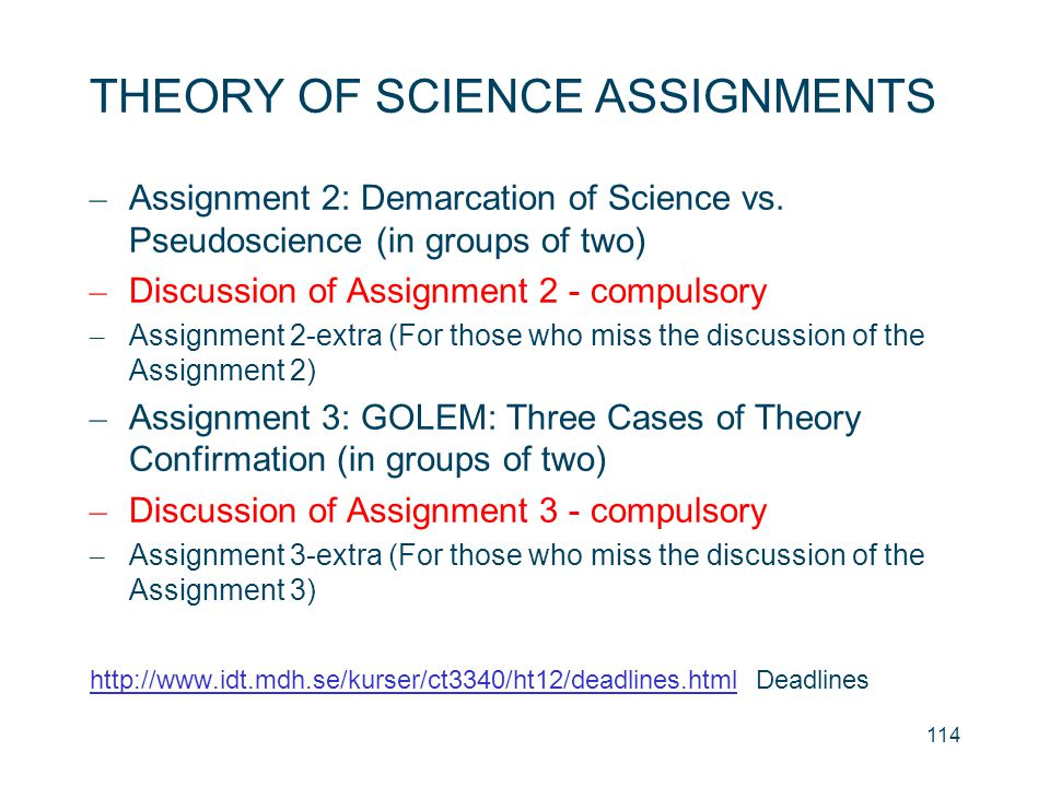 THEORY OF SCIENCE ASSIGNMENTS