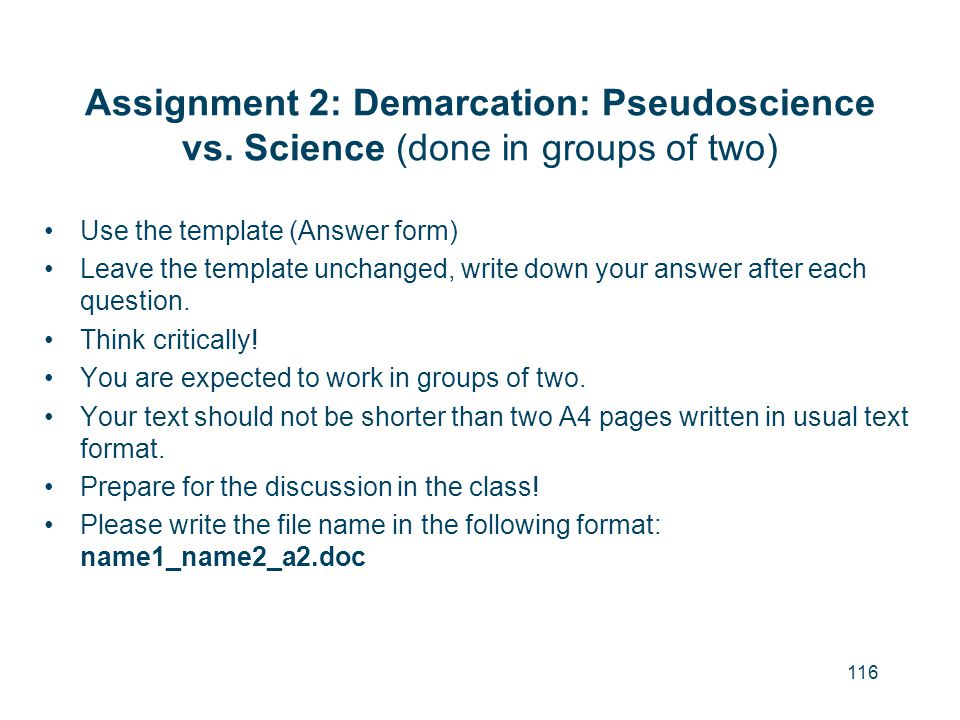 Assignment 2: Demarcation: Pseudoscience vs