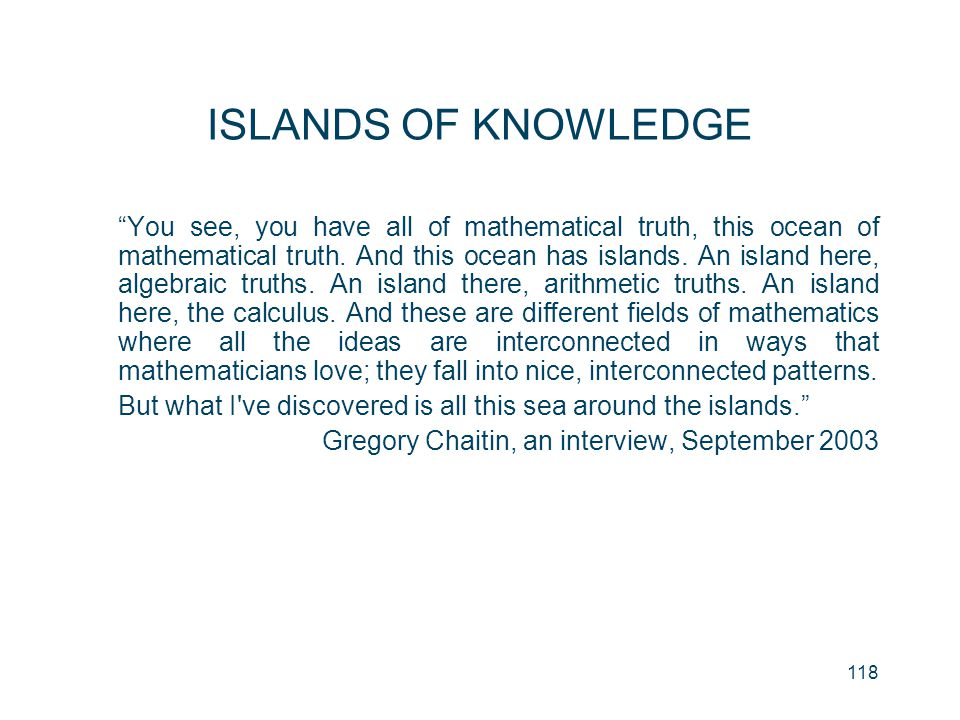 ISLANDS OF KNOWLEDGE