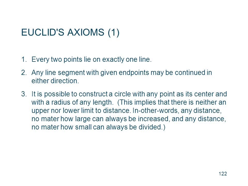EUCLID S AXIOMS (1) Every two points lie on exactly one line.