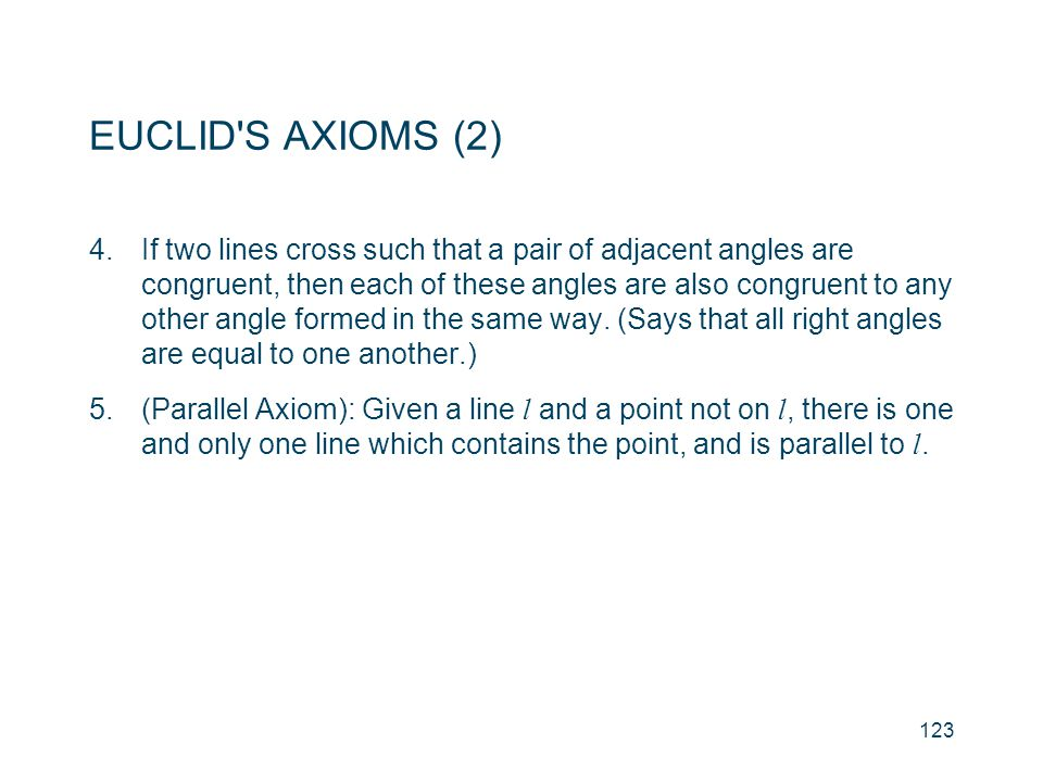 EUCLID S AXIOMS (2)