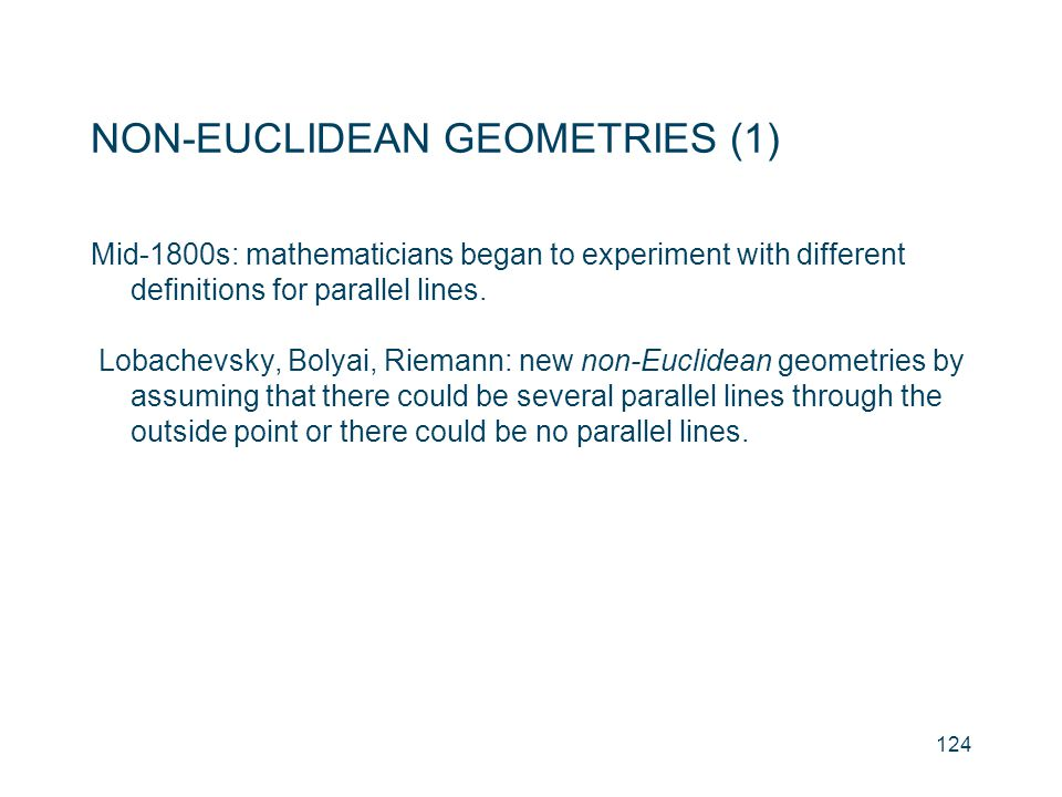 NON-EUCLIDEAN GEOMETRIES (1)