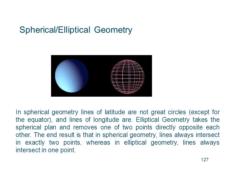 Spherical/Elliptical Geometry